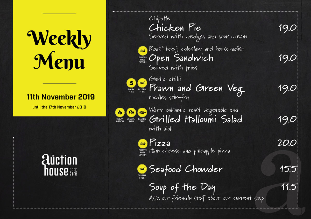 The Auction House Lunch Menu